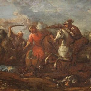 Antique German Painting Battle Oil On Canvas From 17th Century