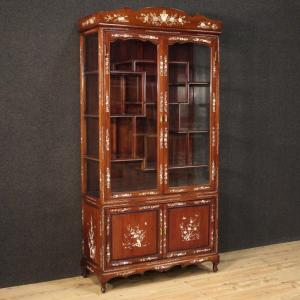Oriental Showcase In Mahogany Wood And Faux Mother-of-pearl