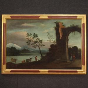 Antique Italian Painting Landscape With Ruins From 18th Century