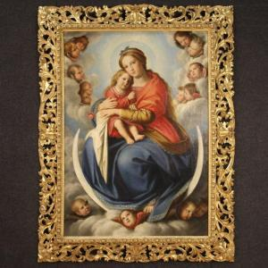 Antique Italian Painting Immaculate Conception From 19th Century