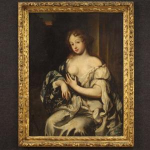 Antique Painting Portrait Of A Lady From 17th Century