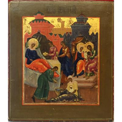Russian Icon Of The Birth Of The Virgin 18th
