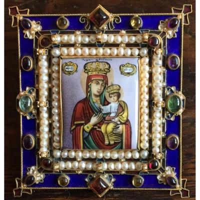 Icon Of The Virgin Of Chernigov / Enameled Orthodox Icon / Percossi Papi