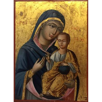 Greek Icon Of The Virgin Of Iveron 19th