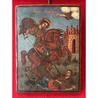 Icône Grecque De Saint Dimitri 19e / Icone Grèce Orthodoxe / Greek Icon / Greece / Ikone