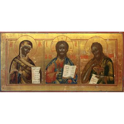 Large Russian Icon Of Christ, The Virgin And Saint John / Deisis / Russia Icon Triptych