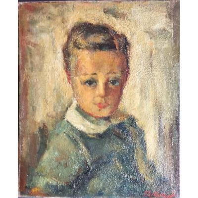 Boris Pastoukhoff  (1894-1974), Portrait d'Enfant, Huile sur Toile, Ecole de Paris / Russie / Ukraine