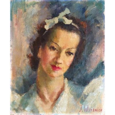 Julia Worswick Pastoukhoff  (1903-1976), Portrait d'Une élégante, Huile Sur Toile, Ecole De Paris / Russie / Ukraine