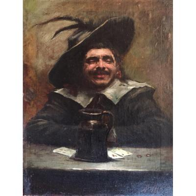 Benito Belli (1870-1899): Le Joueur de Cartes, Huile Sur Toile Ecole italienne / Italie