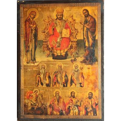 Grande Icône Orthodoxe  Du Christ De La Vierge Et Saint Jean /  Grèce 19e / Greek Icon Virgin Saint John / icone / ikone