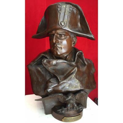 Important Buste En Bronze De l'Empereur Napoléon Bonaparte 19e / R. Colombo / Sculpture / Empire