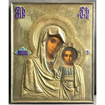 Icône Russe de La Vierge De Kazan avec Oklad en Vermeil Emaillé 19e / Russie Orthodoxe / Icon / Marie