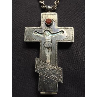 Pope's Silver Pectoral Cross Opening On A Christ In Mother-of-pearl, Russia, Moscow 1890 / Orthodox Icon / Icone