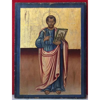 Grande Icône Grecque De Saint Luc l'Evangéliste 19e / Icone Orthodoxe / Icon / Luca / Lucas / Luka / Lukas / Loukas