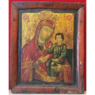 Icône Grecque De La Vierge d'Ivéron fin 18e siècle / Marie Grèce Orthodoxe / Icon