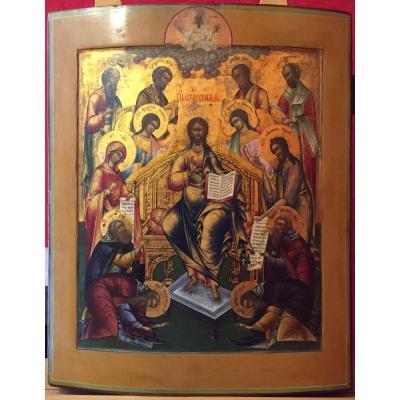 Grande Icône Du Christ En Majesté, Russie 19e Siècle / Déisis / Icone Russe Orthodoxe / Moscou / Icon / Vierge Marie / Saint Jean / Archange