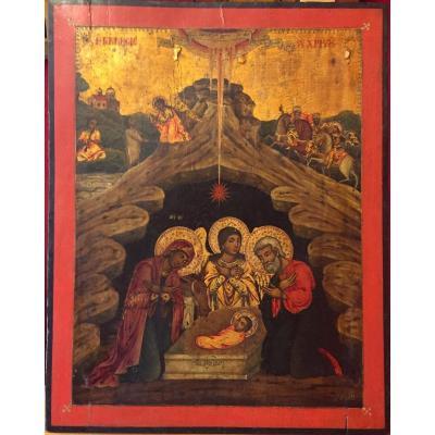 Grande et Rare Icône De La Nativité, Grèce 1820 / Icone Orthodoxe Grecque / Noël / Naissance du Christ / Icon