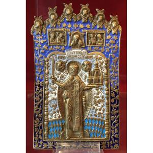 Icône De Voyage En Bronze Emaillé De Saint Nicolas, Russie 19e Siècle / Icone Orthodoxe / Icon
