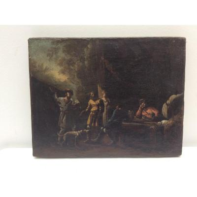 Peinture Fin XVIIe Siècle Scene De Genre Cadre D'epoque