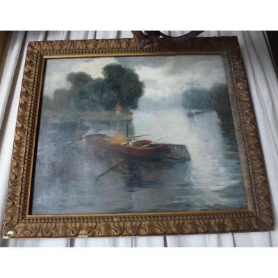 Peinture D'henri Le Riche « Les Péniches Près De L'ile De La Jatte »