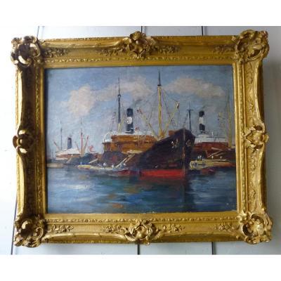 Peinture Marine De Jules Ribeaucourt De La Fin Du XIXe