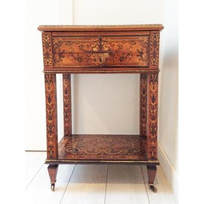 Table Travailleuse 1850 Second Retour D'egype En Marqueterie De Bois Clair Bon Etat