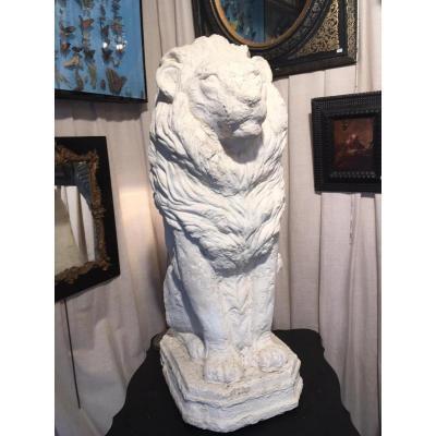 Lion En Plâtre 1900 Sur Socle Bon état