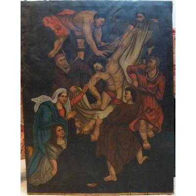 Huile Sur Toile Descente De Croix D'après Rubens