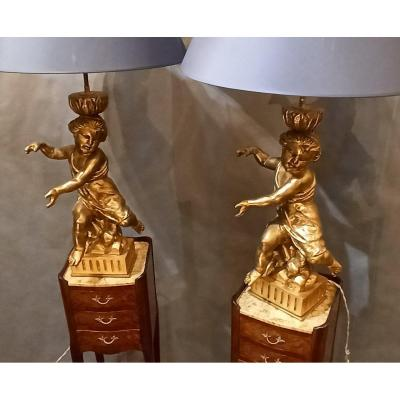 Pair Of Cherub Lamps In Golden Wood Late 19th.