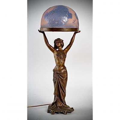 Lampe De Galle A DÉcor d' Hortensias