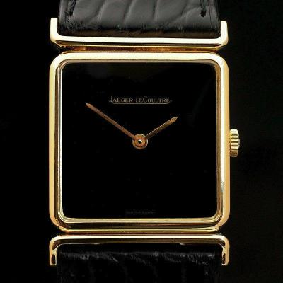 Vintage Jaeger Lecoultre Mechanical Watch 18kts Yellow Gold Onyx Dial Ref. 1418497 Cal.818 / 3 -197