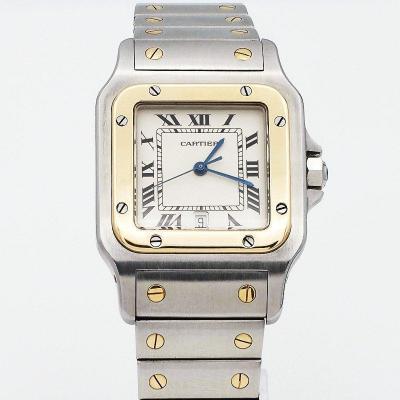 Montre Bracelet Cartier Santos Galbée Acier & Or Grand Modèle  Ref.187901 -1998-