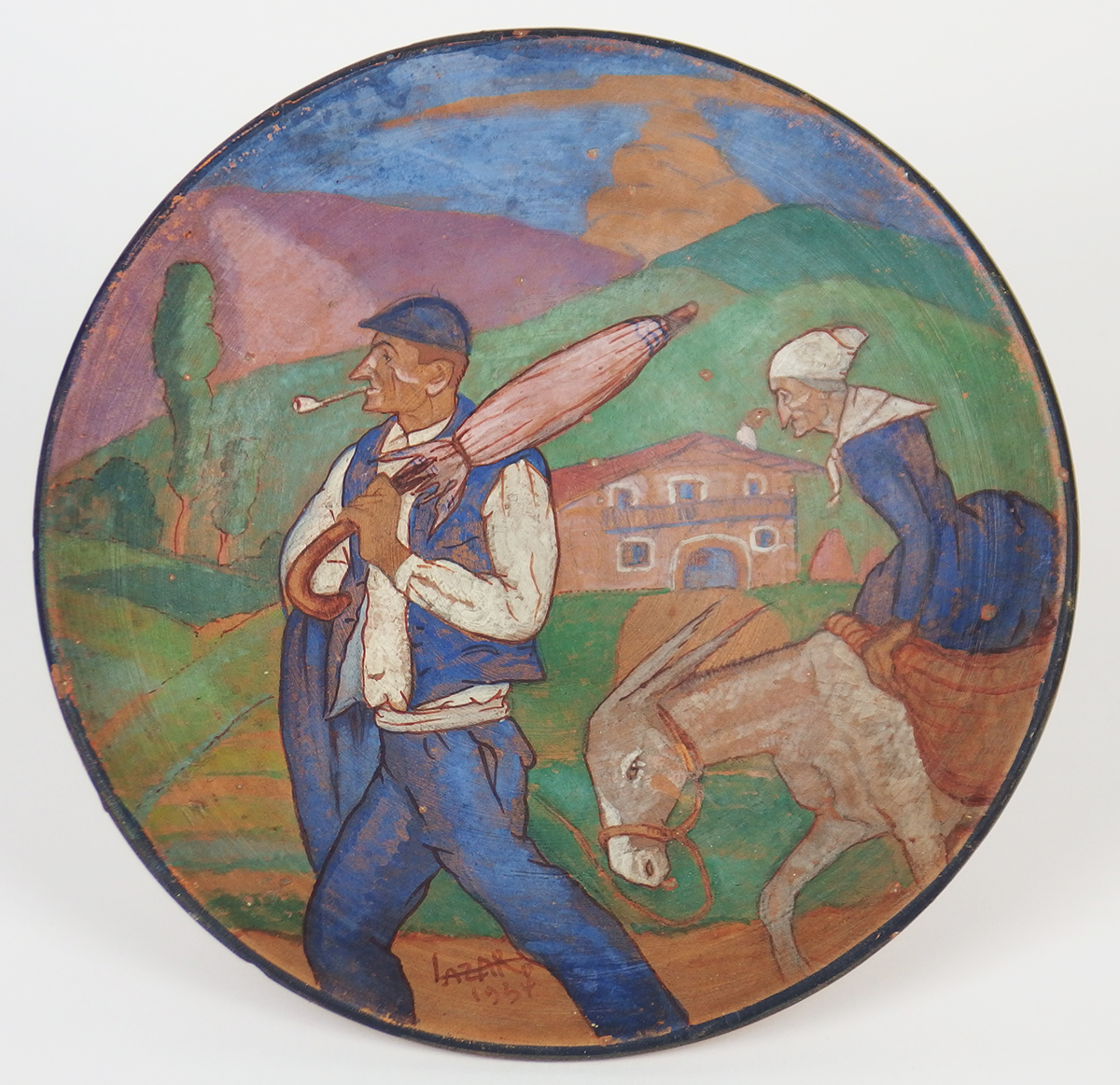 Painted Terracotta Dish Presenting A Scene In The Pays Basque Ountry Signed Lazard