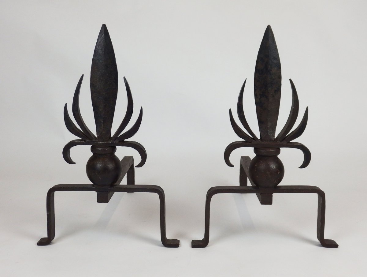Pair Of Art Deco Andirons In Wrought Iron