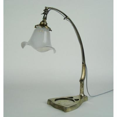 Lampe En Bronze Argenté Jugendstill