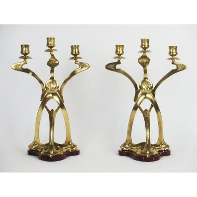 Pair Of Jugendstil Candelabras