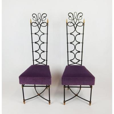 Pair Of 1940's Wrought Iron Chairs