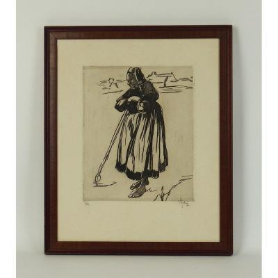 Print Representing A Bigoudène By Gobo