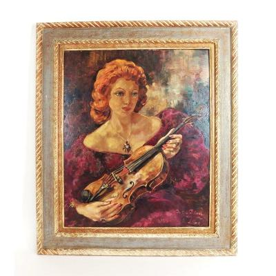Femme Au Violon Peinture Par Evgueniya Lang