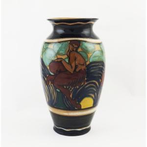Vase En Céramique Attribué à Giulio Rufa