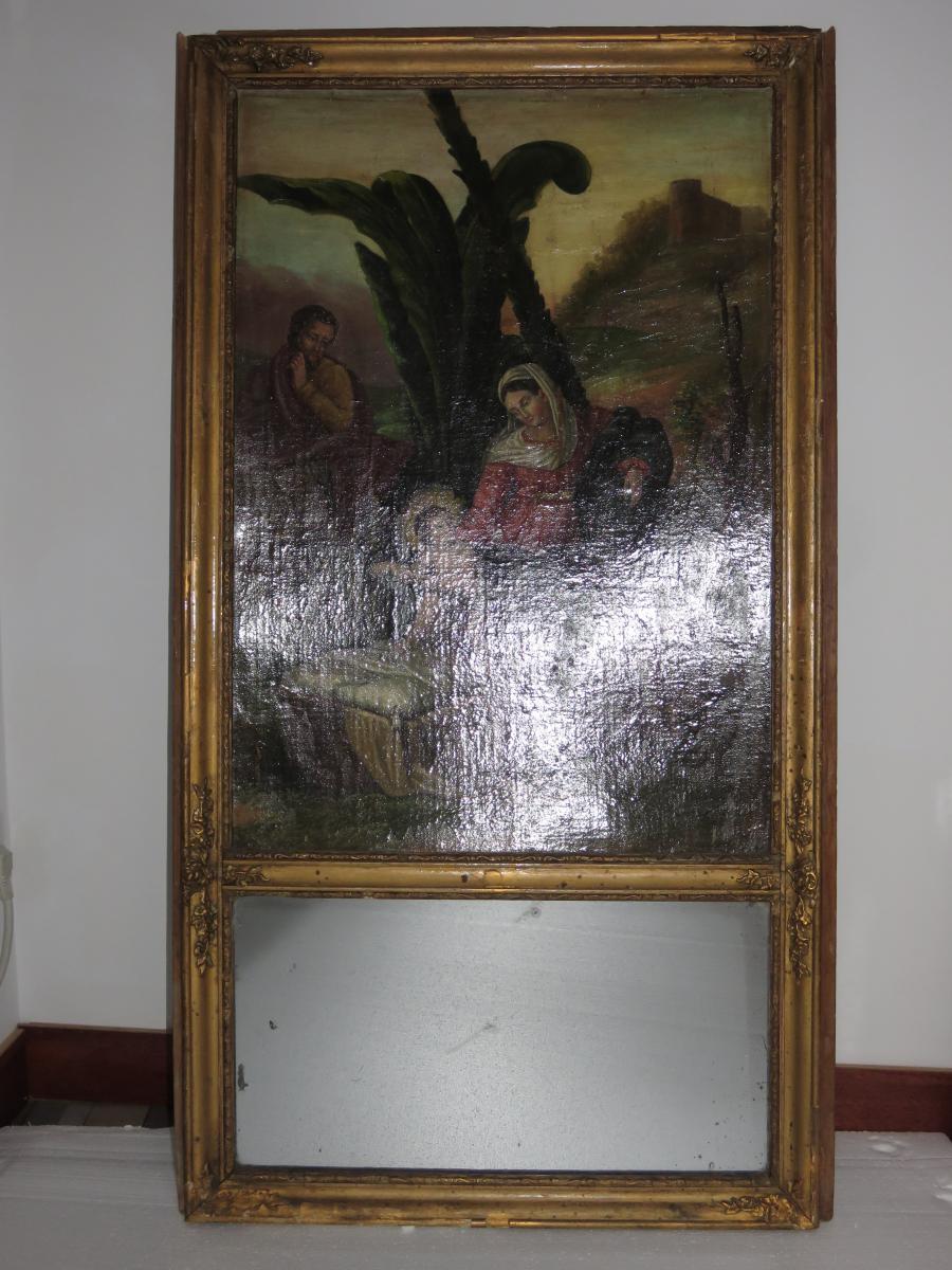 Miroir trumeau huile 19eme nativite vierge a l enfant for Miroir trumeau