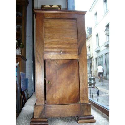 Table De Chevet Directoire A Rideau En Noyer