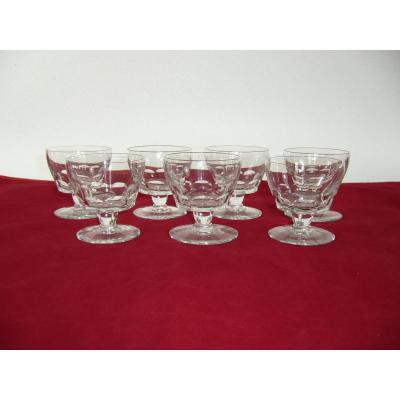 Cristal Baccarat 7 Verres Vin Blanc Art Deco Signed White Wine Baccarat Glasses