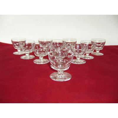 Service Cristal Baccarat 11 Verres Liqueur Art Deco 11 Crystal Liquor Glasses