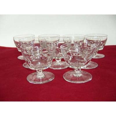 Cristal Baccarat Signe 9 Verres Vin Rouge Art Deco Red Wine Crystal Glasses