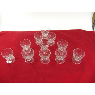 Service Cristal Baccarat Signe 11 Verres Eau Art Deco Crystal Water Glasse Signe