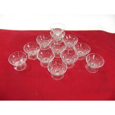 Service Cristal De Baccarat Signe 12 Coupes A Champagne Art Deco Crystal Glasses
