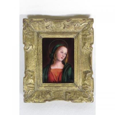 Tableau Camille Fauré Limoges Emaux Cuivre Vierge Marie
