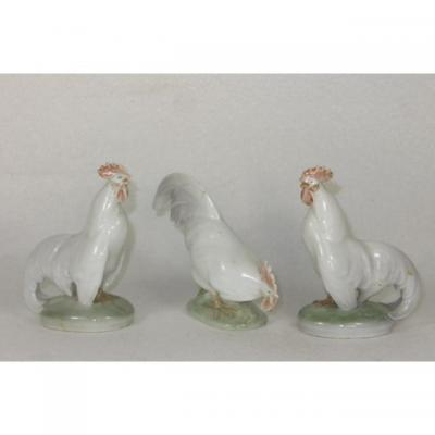 Royal Copenhagen 3 Figurines Coq Porcelaine  1126 Sv Pc 1127 Fg