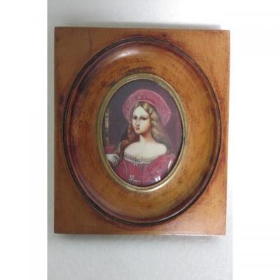 Miniature Portrait Jeanne D'aragon Raphael Signee M. Celler